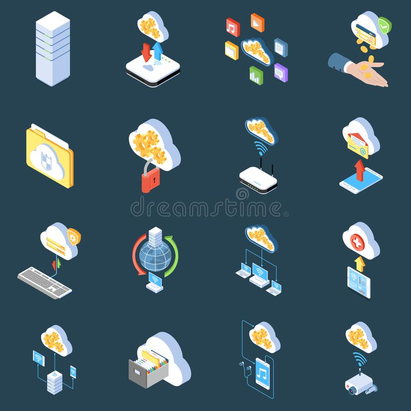 Cloud Technology Isometric Icons royalty free illustration