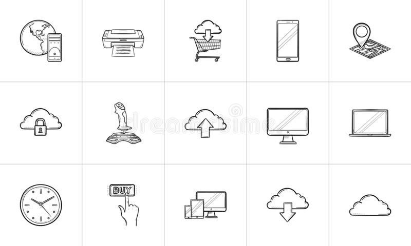 Cloud technology and mobile devices hand drawn outline doodle icon set. vector illustration