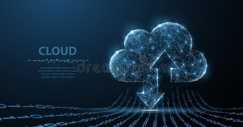 Cloud technology. Polygonal wireframe art looks like constellation. Concept illustration or background. Cloud technology. Polygonal wireframe cloud storage sign stock illustration