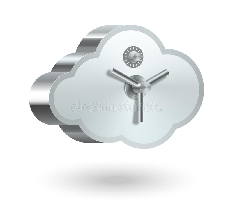 Cloud technology security vector illustration