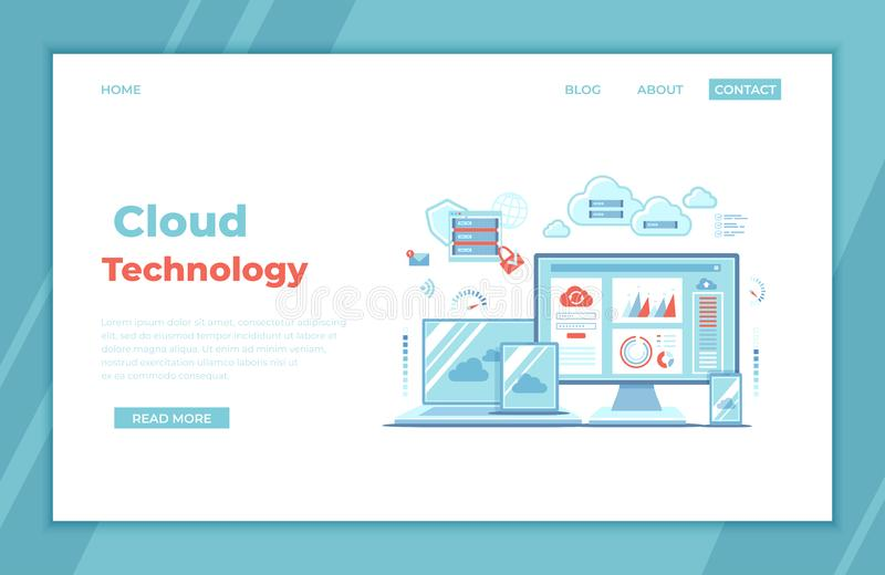 Cloud Technology Services Data Center Connection Hosting Server Database Synchronize Storage Login page and password on monitor sc vector illustration