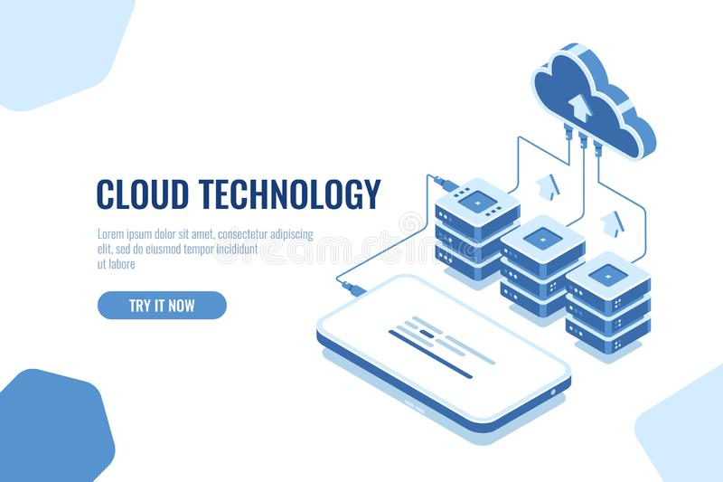 Cloud technology storage and transfer data isometric, mobile phone data downloading, remote server room and database royalty free illustration