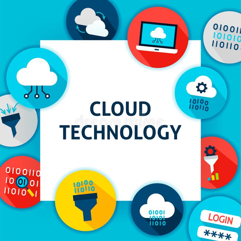 Cloud Technology Template. Vector Illustration Flat Style Business Concept stock illustration