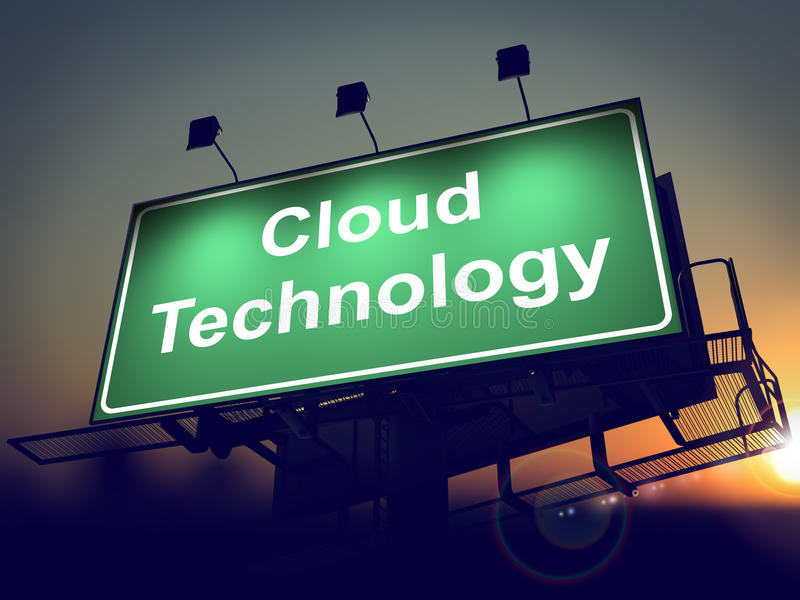 Cloud Tecnology on Billboard. stock illustration