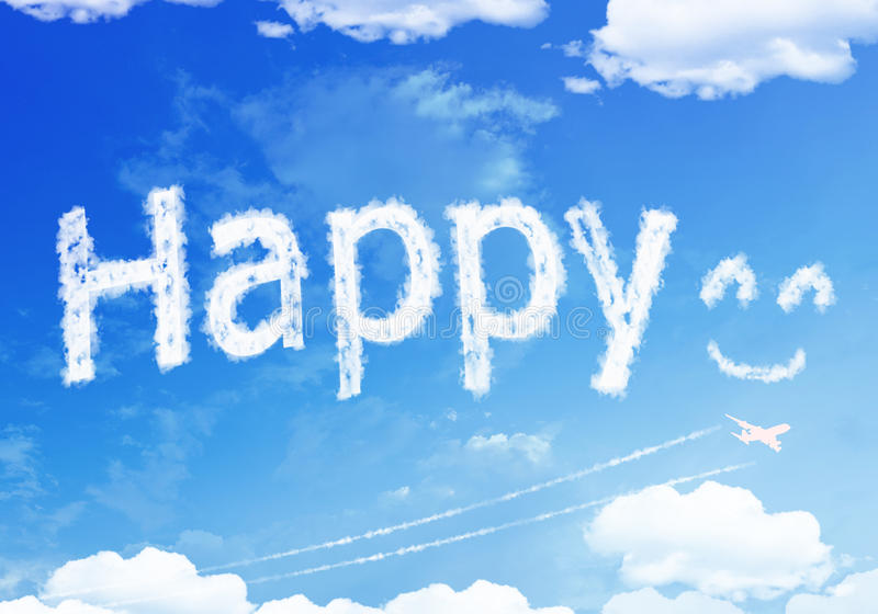 Cloud text : HAPPY Smile on the sky. royalty free stock images