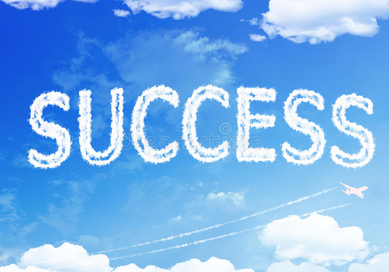 Cloud text : Success on the sky stock photo