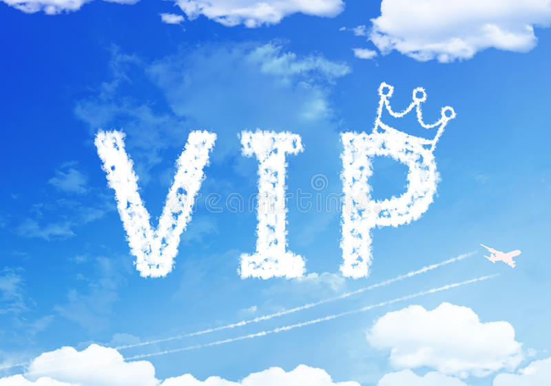 Cloud text : Very Important People (VIP) on the sky. stock photos