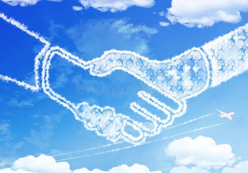 Cloud texture : HANDSHAKE on the sky. royalty free illustration