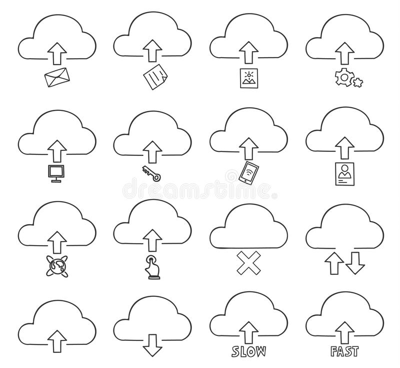 Cloud thin icon set hand drawn vector line art illustration stock illustration