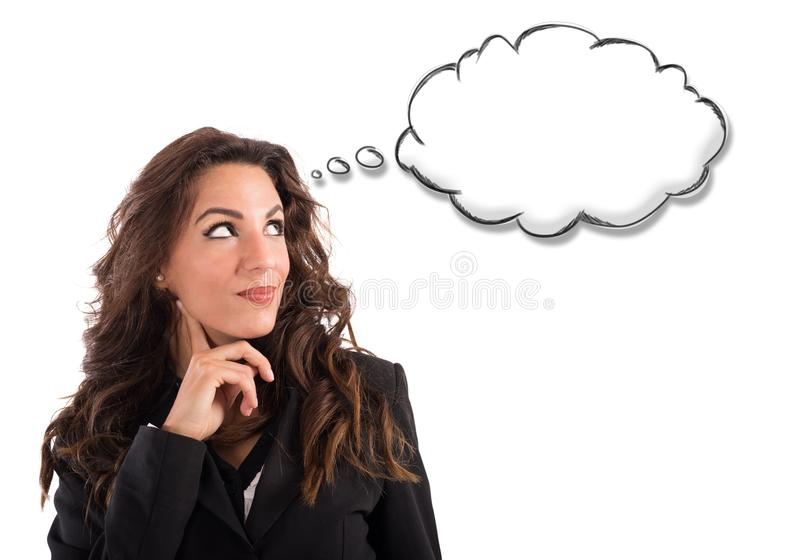 Cloud of thought. Woman thinks with little cloud of thought royalty free stock photo