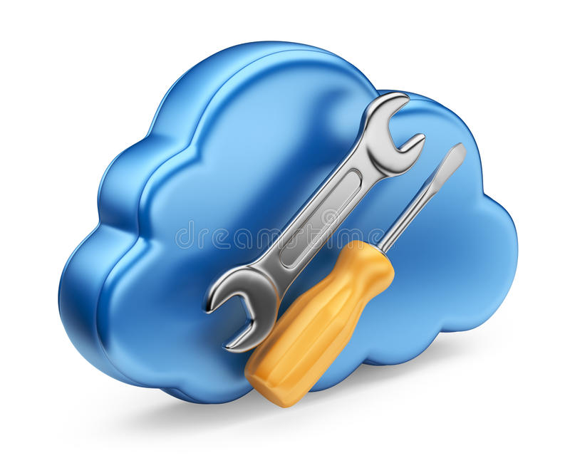 Cloud with tools. 3D Icon isolated royalty free illustration