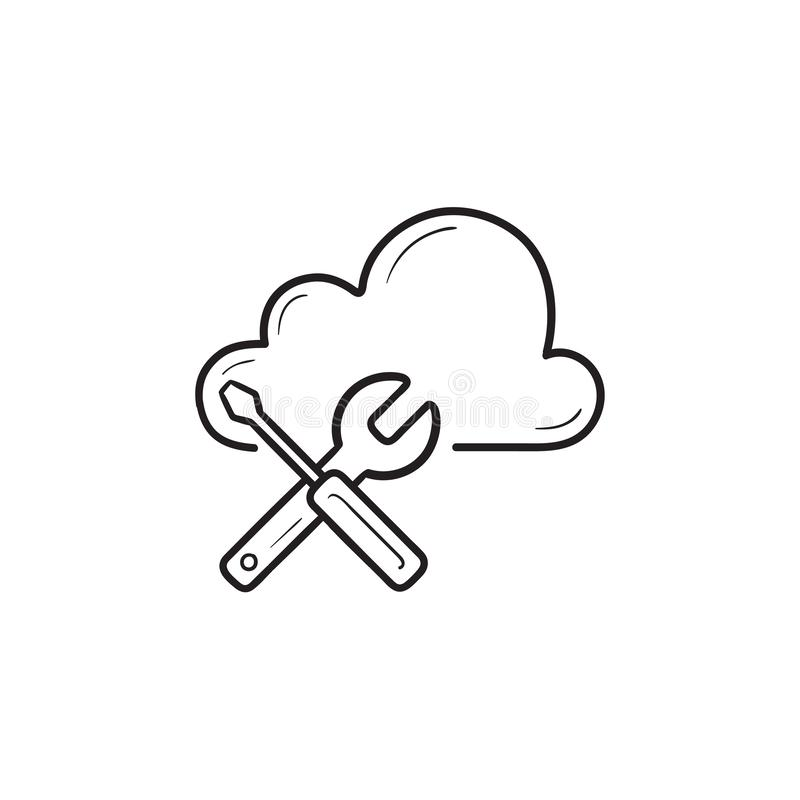 Cloud with tools hand drawn outline doodle icon. stock illustration
