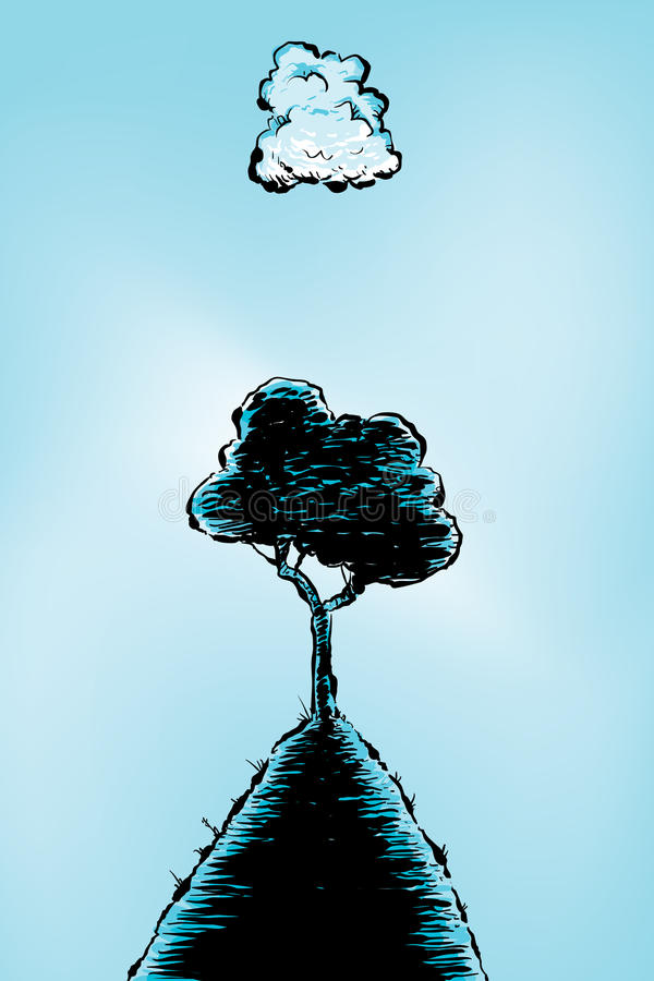 Download Cloud Tree stock illustration. Image of background, single - 32374795