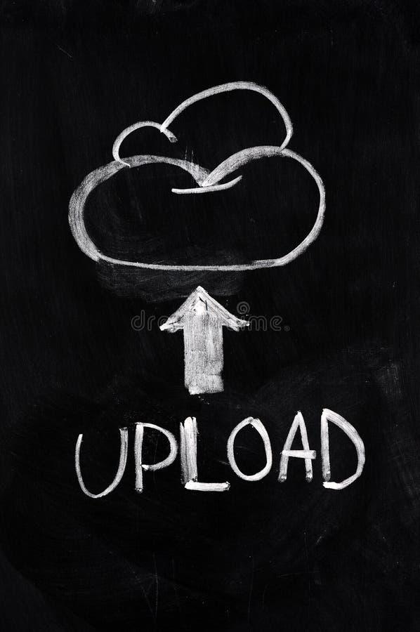 Cloud upload. Concept written on blackboard stock photography