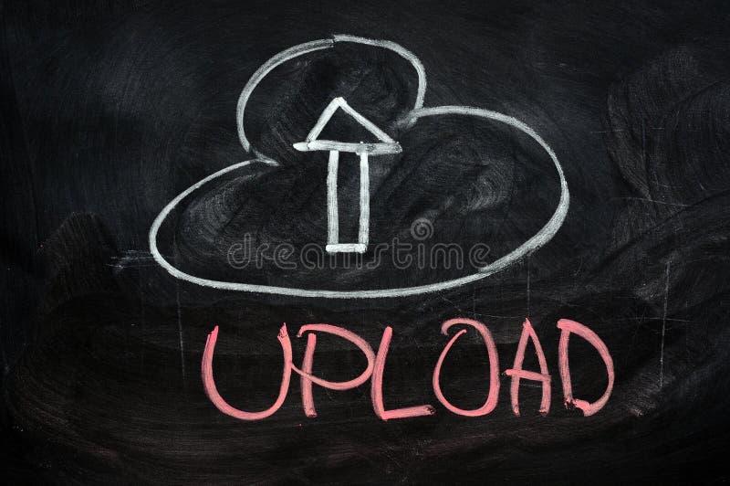Cloud upload. Concept written on blackboard stock photo