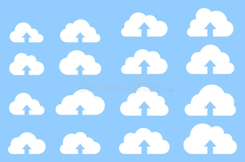 Cloud upload collection on blue background royalty free illustration