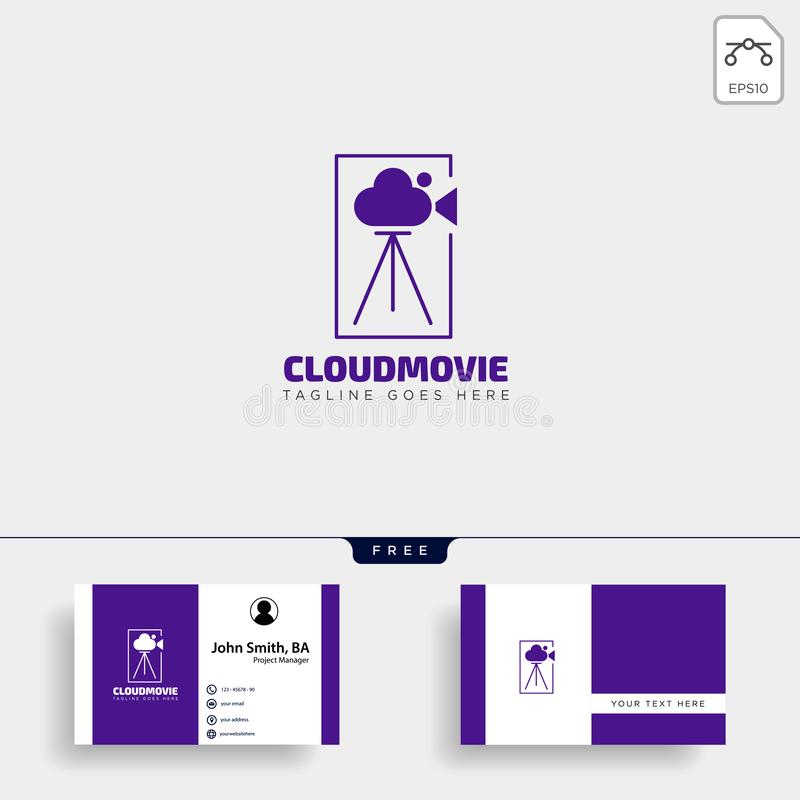 cloud video movie badge simple logo template with black color vector illustration stock illustration