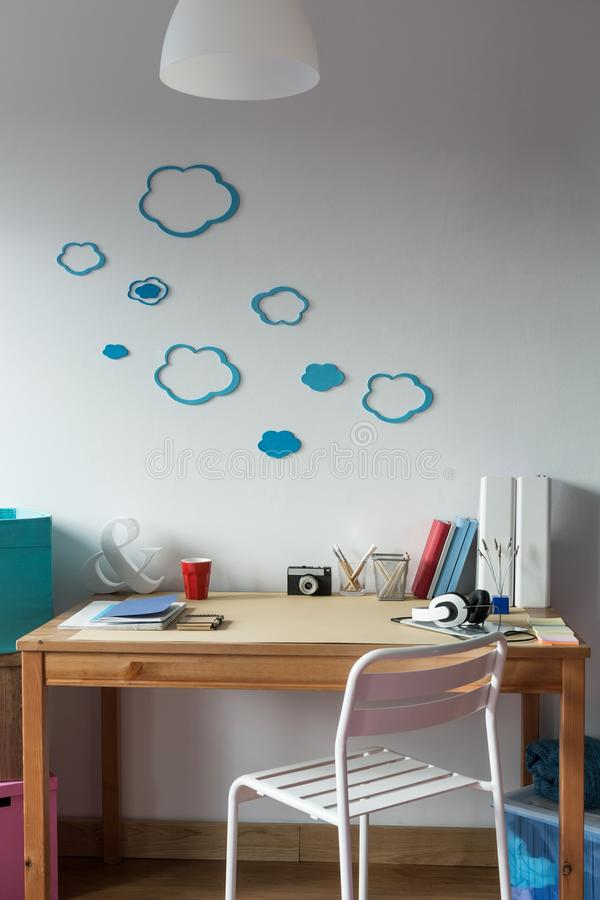 Cloud wall decor. In cozy child's room royalty free stock image