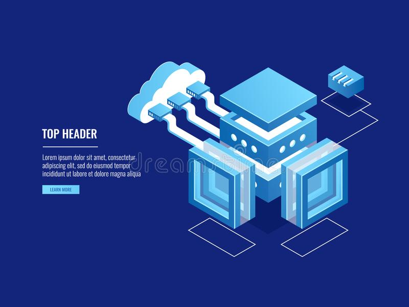 Cloud warehouse, data copy storage, server room, connection with cloud, data center database icon. Isometric vector royalty free illustration