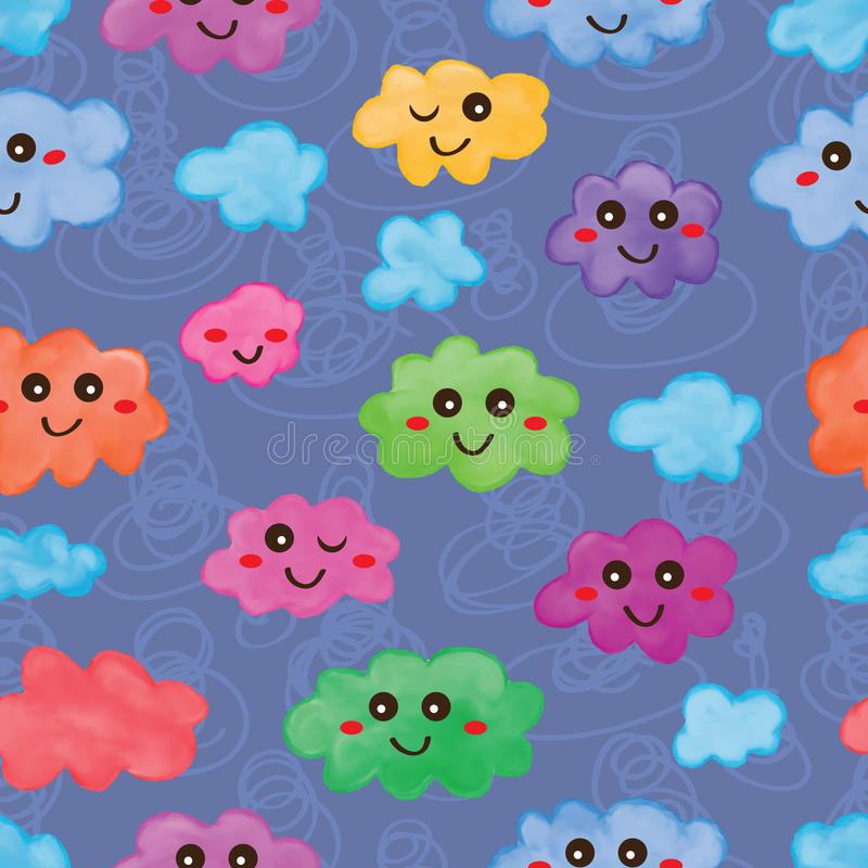 Cloud watercolor cartoon seamless pattern royalty free illustration