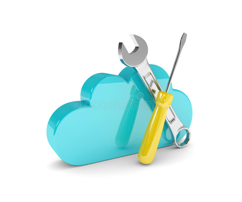 Cloud with wrench and screwdriver isolated on white royalty free illustration