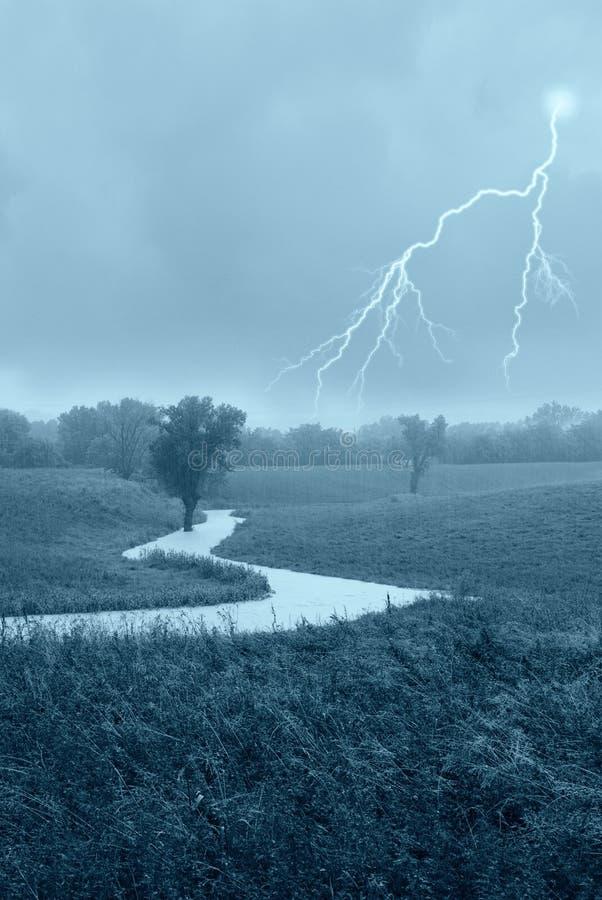 Cloudburst. With big lightning and rain stock image