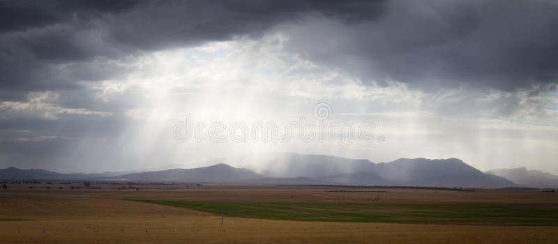 Cloudburst. Over the Grampians range in Victoria, Australia royalty free stock image