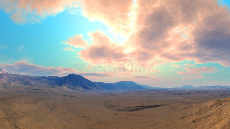 Download Clouded desert Landscape stock illustration. Image of scape - 9849632