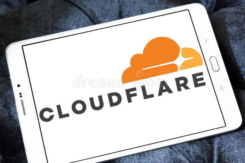 Cloudflare company logo. Logo of Cloudflare company on samsung tablet. Cloudflare is a U.S. company that provides a content delivery network, DDoS mitigation royalty free stock photo