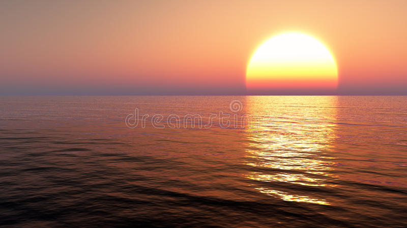 Sunset over ocean water. Orange cloudless morning sky is being thorn apart by a rising sun. Huge sun is reflected in the river, lake, ocean or sea water. Endless royalty free stock images