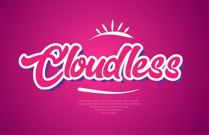 Cloudless word text typography pink design icon. Cloudless word typography design in pink color suitable for logo, banner or text design stock illustration