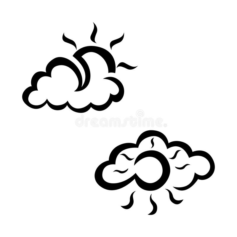 Cloudly and sunny weather sketch icon set. Hand drawn weather icon set. stock illustration