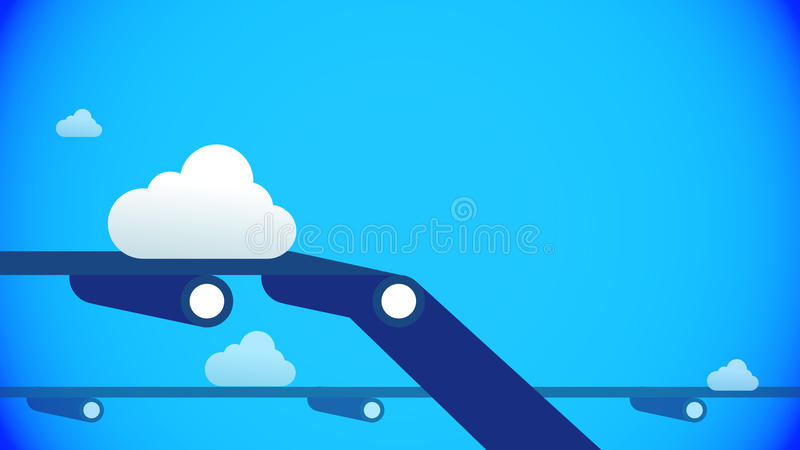 Clouds. Accelerating the Saas and Cloud businesses on blue background stock illustration