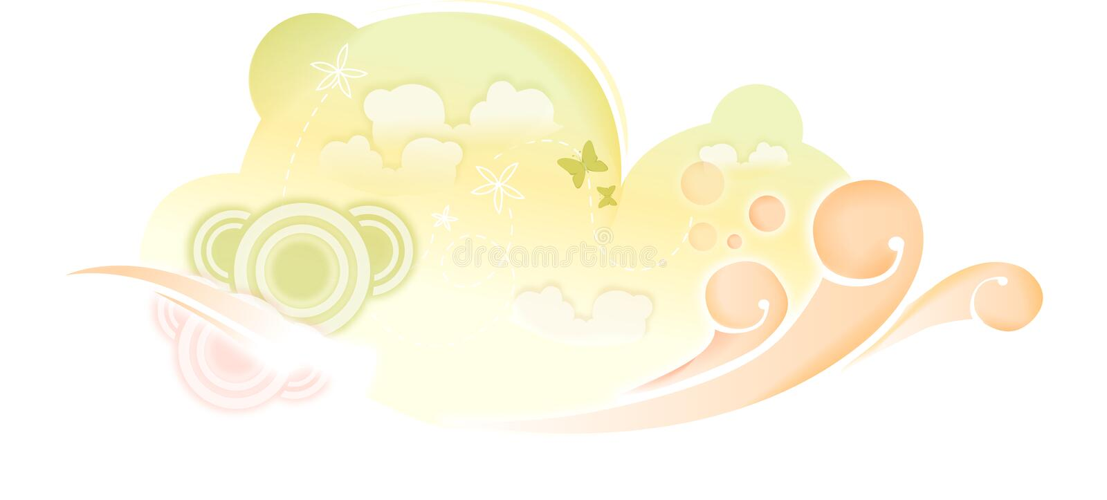 Clouds. Illustration drawing butterfly around clouds in sky stock illustration