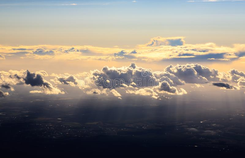 Clouds above Earth at Sunset royalty free stock photography