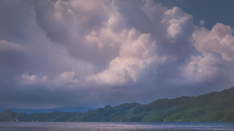 Clouds above Kabui Bay near Waigeo before Thunderstorm. West Papuan, Raja Ampat, Indonesia. Clouds above Kabui Bay near Waigeo before Thunderstorm. West Papuan stock photos