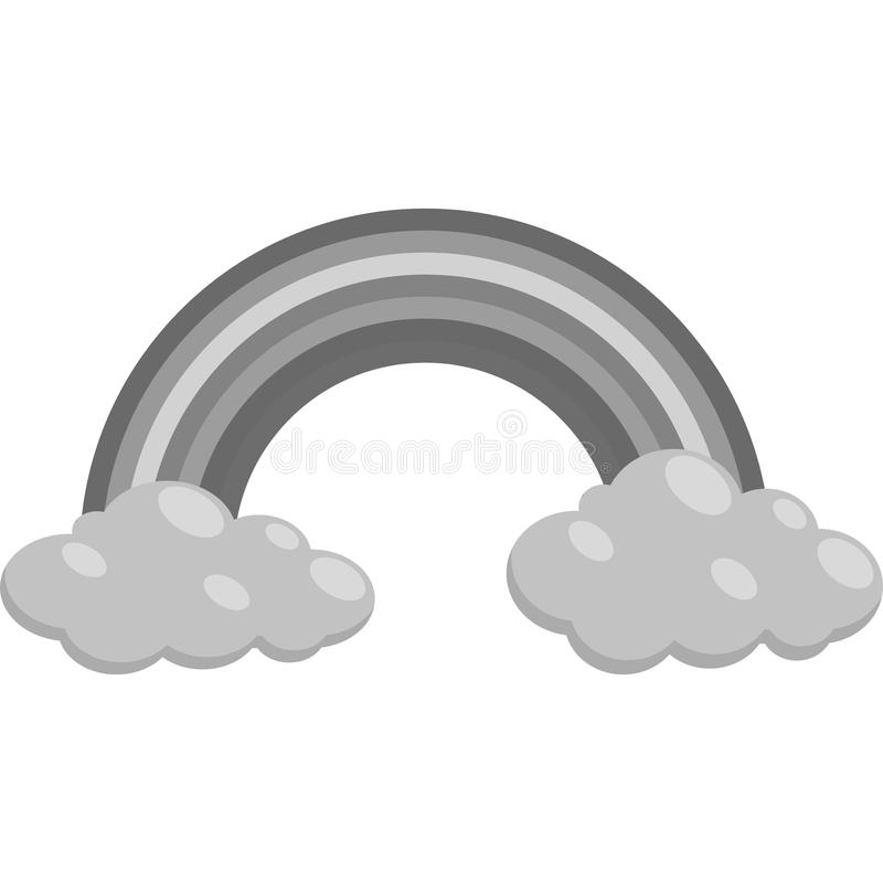 Free Clouds And Rainbow Icon, Black Monochrome Style Royalty Free Stock Images - 83331709