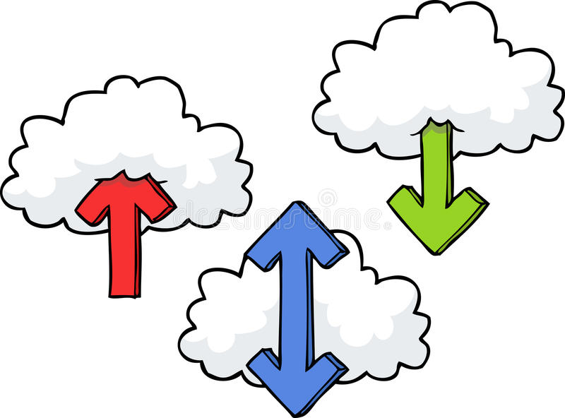 Clouds with arrows stock illustration