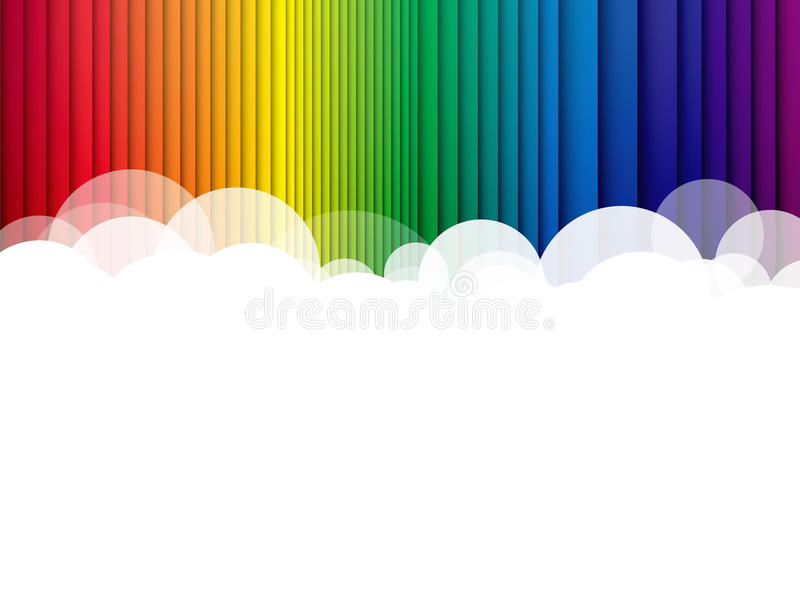 Clouds background rainbow stripes vector illustration