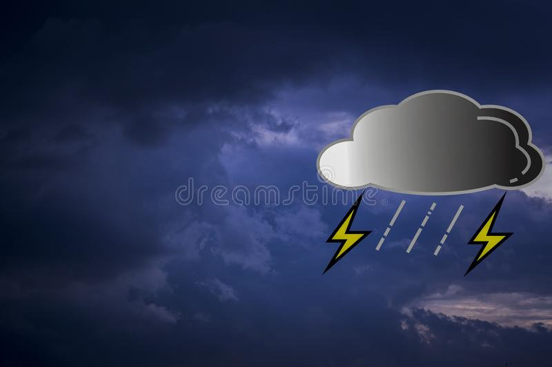 Clouds are black in sky, while rain is falling, With icons and rain symbols. With copy space and put text and weather forecasts.  vector illustration