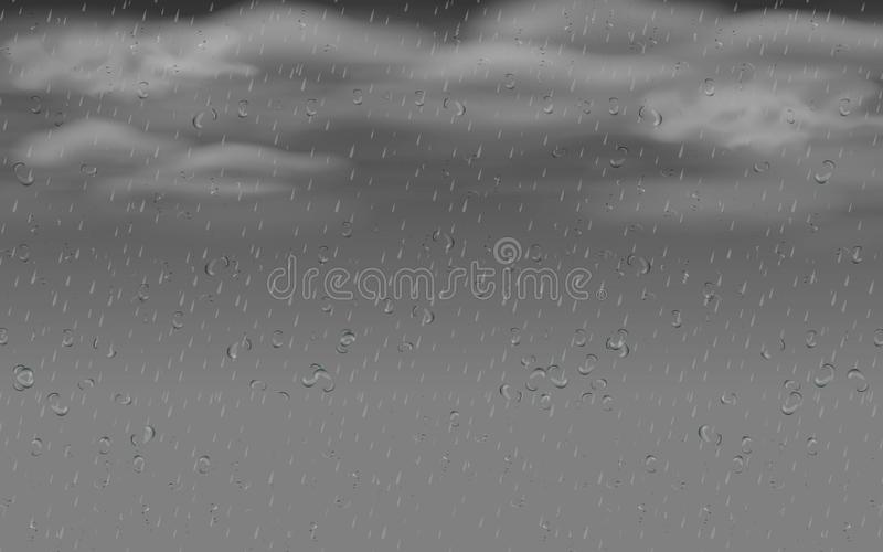 Clouds on the black sky. Water drops on the glass in the rain day royalty free illustration