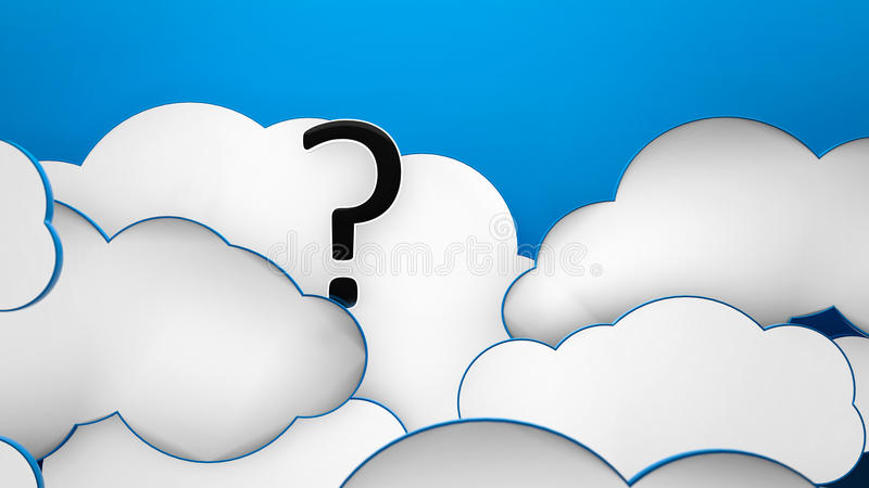 Clouds blue background question. Question mark in the clouds blue heaven background vector illustration