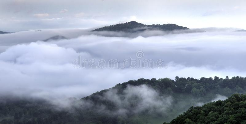 Clouds in Blue Ridge Smoky Mountain valley, Waynesville NC, USA royalty free stock photography