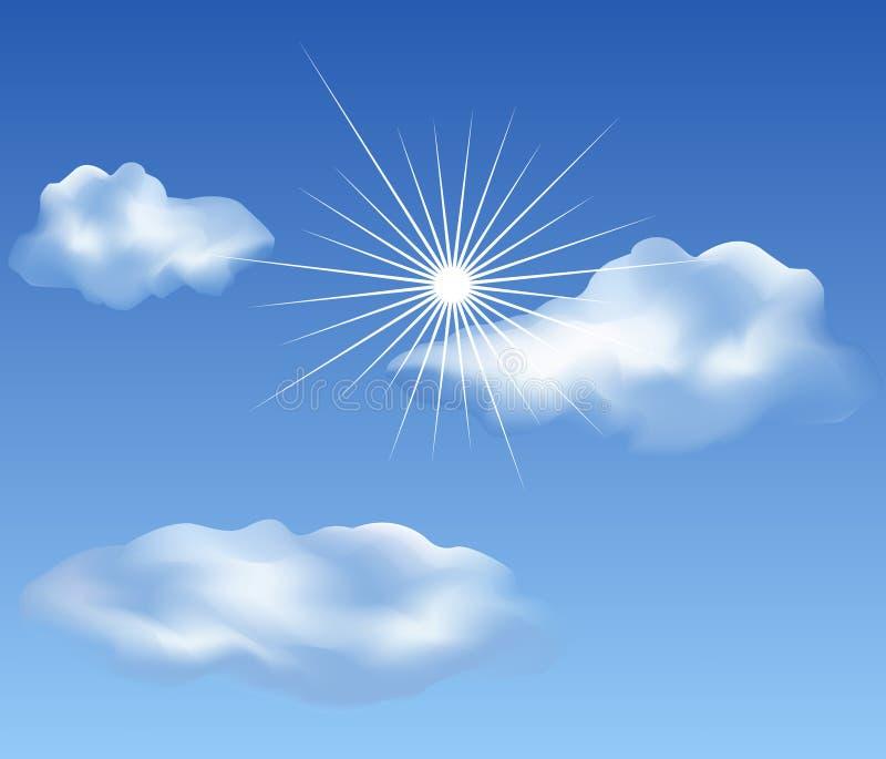 Clouds on blue sky vector illustration
