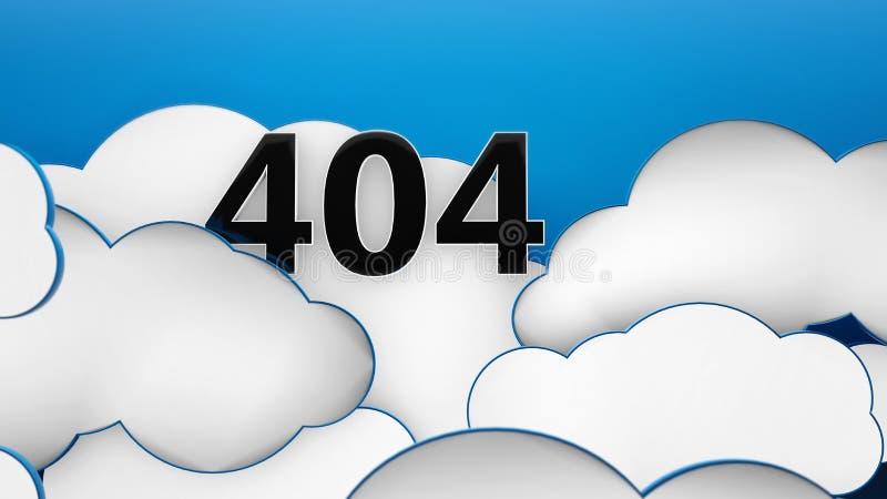 404 Clouds on blue sky background 3d. Error 404 god not found royalty free illustration