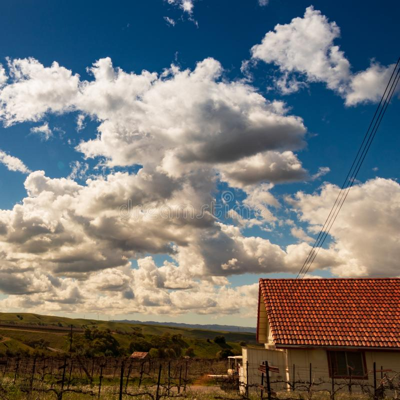 Clouds and blue sky over rolling California Vineyards royalty free stock image