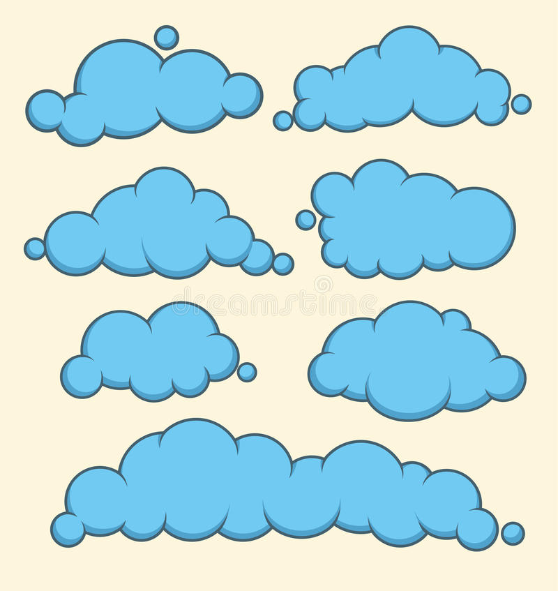 Clouds blue vector set. vector illustration