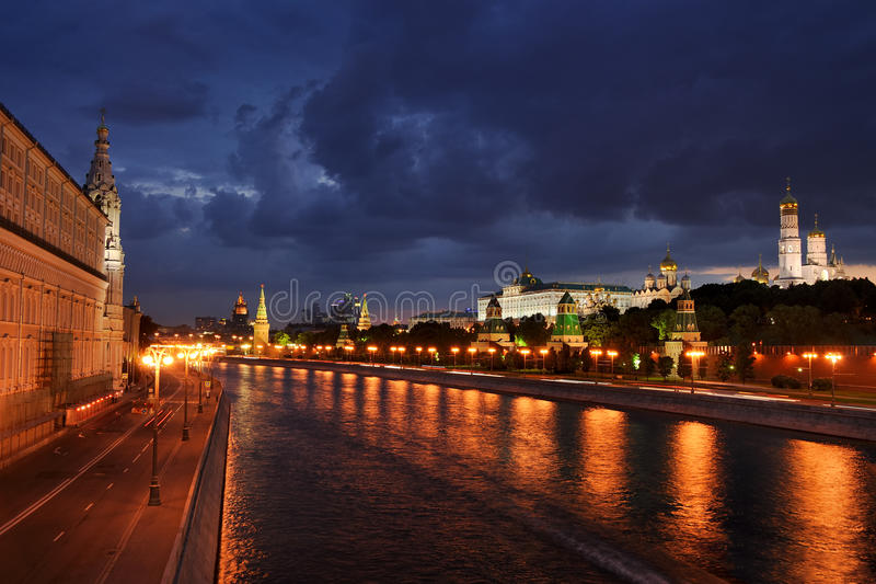 Clouds Build Up Over Moscow At Evening Twilight stock photos