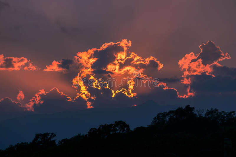 Clouds in Colima. Dramatic fire clouds in Colima, Mexico stock photography