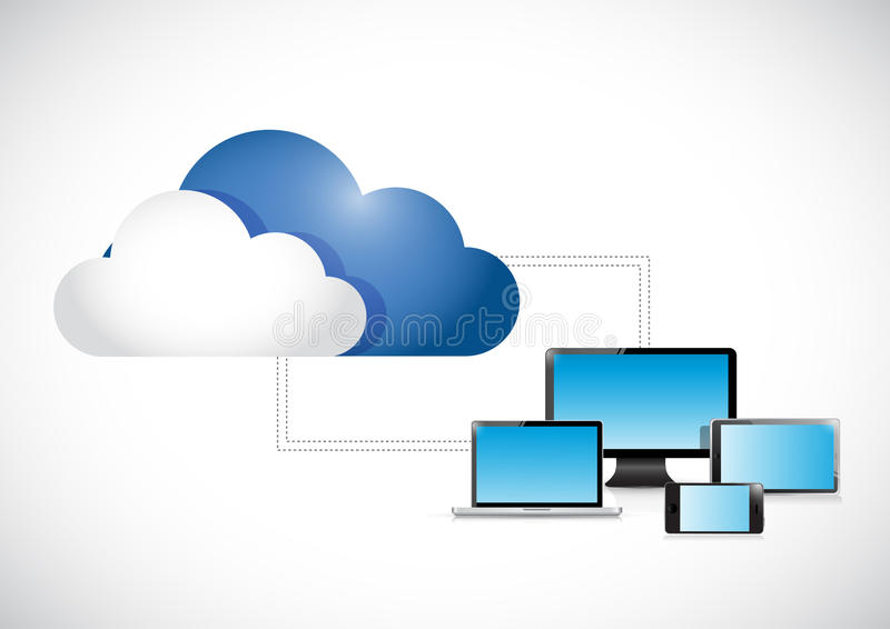 Clouds connected to a set of electronics. Illustration design over a white background stock illustration